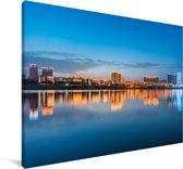 Skyline van Nanchong in China Canvas 90x60 cm - Foto print op Canvas schilderij (Wanddecoratie woonkamer / slaapkamer) / Aziatische steden Canvas Schilderijen