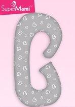 Zwangerschapskussens / Voedingskussen  -  C vorm - Grijs met witte hartjes