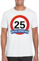 25 jaar and still looking good t-shirt wit - heren - verjaardag shirts XL