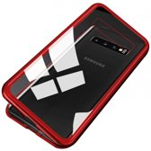 Teleplus Samsung Galaxy S10 Metal Frame Magnet 360 Cover Case Red + Full Closing Glass hoesje