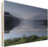 Nationaal park Snowdonia in Wales Vurenhout met planken 90x60 cm - Foto print op Hout (Wanddecoratie)