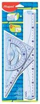 Geometric Kit met 2 driehoeken 21 cm, 30 cm liniaal en 1 gradenboog