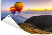 Luchtballonnen met uitzicht op een kleurrijke hemel Tuinposter 180x120 cm - Tuindoek / Buitencanvas / Schilderijen voor buiten (tuin decoratie) XXL / Groot formaat!