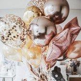 Luxe Ballonnen RoseGold Zilver Confetti - 12 Stuks - FolieBallonnen Chrome Metallic Ballonnenset Ster Folie Ballon