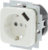 Busch-Jaeger Reflex Inbouw Wandcontactdoos USB  - 1-voudig - Randaarde - Polarwit
