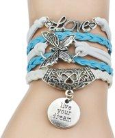Fako Bijoux® - Multi Armband - Love Vlinder Munt - Lichtblauw/Wit