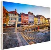 Kleurrijke huizen Kopenhagen Hout 80x60 cm - Foto print op Hout (Wanddecoratie)