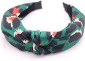 Haarband/diadeem met panter/luipaard print, groen