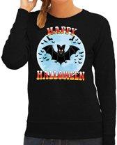Halloween -  Happy Halloween vleermuis verkleed sweater zwart voor dames - horror vleermuis trui / kleding / kostuum XL