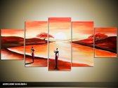 Acryl Schilderij Zonsondergang | Rood, Bruin | 150x70cm 5Luik Handgeschilderd