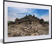 Foto in lijst - Architectuur van de Borobudur tempel fotolijst zwart met witte passe-partout 60x40 cm - Poster in lijst (Wanddecoratie woonkamer / slaapkamer)