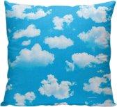 Sky - Sierkussen - 40 x 40 cm - Travel / Reizen - Lucht / Wolken - Blauw / Wit - Reizen / Vakantie - Reisliefhebbers - Voor op de bank/bed