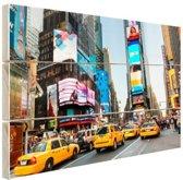 Times Square gele taxis foto afdruk Hout 80x60 cm - Foto print op Hout (Wanddecoratie)