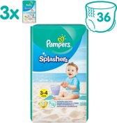 Pampers Splashers Wegwerpbare Zwemluiers - Maat 3-4 - 3x12 - Voordeelverpakking