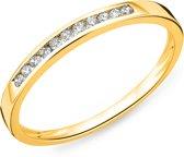 Majestine 9 Karaat Alliance Ring Geelgoudkleurig (375) met Diamant 0.10ct Maat 56