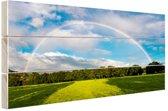 Spectaculaire dubbele regenboog Hout 30x20 cm - klein - Foto print op Hout (Wanddecoratie)