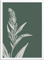 Vintage bloem blad pampa's gras poster Designclaud - Puur Natuur Botanical - Groen - A3 + Fotolijst wit