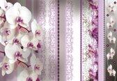 Fotobehang Flowers Floral Orchids Pattern   XXL - 206cm x 275cm   130g/m2 Vlies