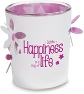 Sfeerlicht - Stralend Lichtje - Boeddha Happiness - 6,5 cm - waxinelichtjeshouder