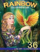 Rainbow. Line Art Coloring Book