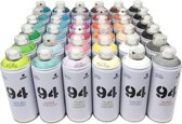 MTN94 Spuitbussen pakket - 36 kleuren lage druk en matte afwerking spuitverf - Graffiti verf voor vele doeleinden zoals voor diy, klussen, graffiti, hobby en kunst