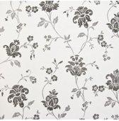 Dutch Wallcoverings vliesbehang bloem - zwart/wit