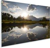 Ondergaande zon achter het Tetongebergte in Wyoming Plexiglas 30x20 cm - klein - Foto print op Glas (Plexiglas wanddecoratie)