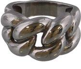 Ring met Grote Schakel - RVS - Ringmaat 19 - Zilverkleurig - Dielay