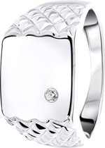 Lucardi - Zilveren zegelring met zirkonia
