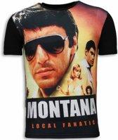 Local Fanatic Tony Montana - Digital Rhinestone T-shirt - Zwart - Maten: S