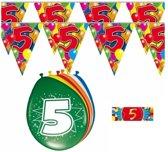 2x 5 jaar vlaggenlijn + ballonnen