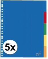 Kunststof tabbladen A4 - 25 stuks - 23 rings/ gaats - gekleurde tabbladen