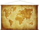 Wereldkaart op schoolplaat - Muurdecoratie - Perkament - Bruin 90x60 cm platte latten - Textielposter