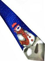 Stropdas Sneeuwpop Blauw - YourTie.nl