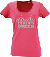 """Toppers tip: Roze T-Shirt """"Circus Queen"""" (L)"""