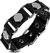 Amanto Armband Farid C - Heren - Leer - Zwart - Studs - 20 mm - Aanpasbaar (max.22 )