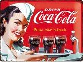 Coca Cola Waitress, Retro reclame wandbord, Reclamebord Amerika USA. metaal