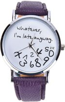 Zoëies® whatever I'm late horloge paars