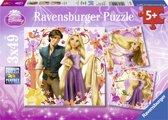Ravensburger Disney Princess Disney Rapunzel- Drie puzzels van 49 stukjes - kinderpuzzel