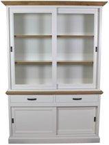 HSM Collection Vitrinekast Provence - grenen - naturel eiken/wit
