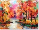 Landschap Bomen - Kleurrijk - Schilderij op Canvas