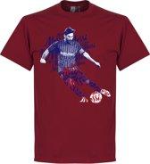 Lionel Messi Barcelona Script T-Shirt - Bordeaux - M