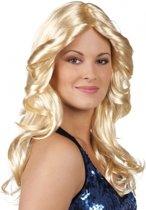 Disco pruik blond met krullen