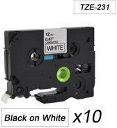 10x Tze-231 TZ231 Compatible voor Brother P-touch Label Tapes- Zwart op Wit - 12mm