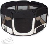 Topmast Puppyren  Puppytent Nylon Zwart Large Dia 128cm   Hoogte 61cm - Opvouwbaar