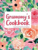 Grammy's Cookbook Coral and Teal Floral Edition