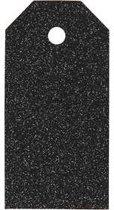 Cadeaulabels, afm 5x10 cm,  300 gr, zwart, glitter, 15stuks