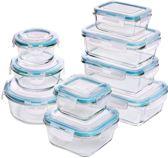 Utopia Kitchen Glazen Vershoudbakjes - 18 stuks (9 bakjes + 9 deksels) - Doorzichtige deksels.