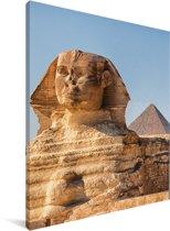 Close up van de Sfinx van Gizeh in Egypte Canvas 120x160 cm - Foto print op Canvas schilderij (Wanddecoratie woonkamer / slaapkamer) XXL / Groot formaat!