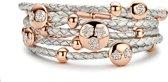 New Bling 980101171 - Leren armband - met stalen elementen - Zilverkleurig en Ros�kleurig